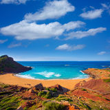 Playa Pilar de Cala en Menorca en Balearic Island fotografía de archivo libre de regalías