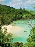Playa polinesia ocultada impresionante Fotos de archivo libres de regalías