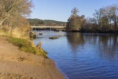 Playa, puente y árboles de Sandy en una orilla del río en un día de invierno soleado imagen de archivo