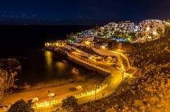 Playa Puerto de Santiago på natten Fotografering för Bildbyråer