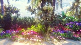 Playa que sorprende con las flores hermosas y los árboles que crecen en ella, cielo azul y arena blanca lavados por la ola oceáni almacen de metraje de vídeo