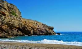 Playa rasgada en Hospitalet del Infant, España Foto de archivo