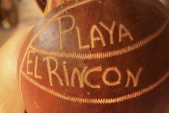 Playa Rincon écrit sur une noix de coco Photos libres de droits