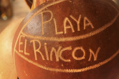 Playa Rincon written on a coconut Royalty Free Stock Photos