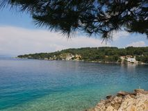 Playa rocosa mediterránea sombreada árbol fotos de archivo libres de regalías