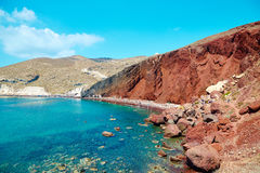 Playa roja de Santorini Fotografía de archivo