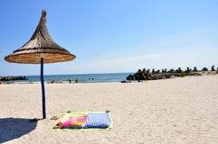 Playa rumana en el Mar Negro Imagen de archivo libre de regalías
