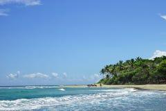 Playa salvaje con agua, la arena y las palmas claras de la turquesa Imágenes de archivo libres de regalías