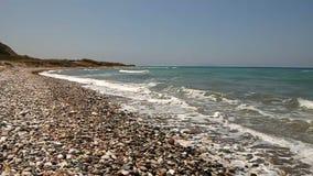 Playa salvaje de los guijarros almacen de video