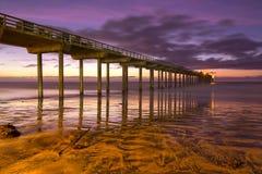 Playa San Diego California de Scripps Pier Sunset Colors La Jolla Shores Fotografía de archivo