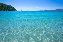 Playa San Juan de Ibiza Cala San Vicente en Balearic Island imagenes de archivo