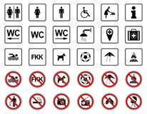 Playa - señales de la prohibición y de peligro - Iconset libre illustration