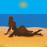 Playa soleada stock de ilustración