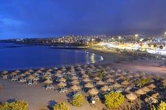 Playa Torviscas na noite. Tenerife, Spain imagens de stock royalty free