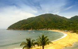 Playa tropical con las palmeras Fotos de archivo