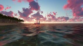 Playa tropical con las palmeras y el barco almacen de video