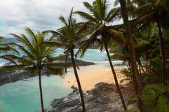 Playa tropical con las palmeras y el mar azul prístino Foto de archivo libre de regalías
