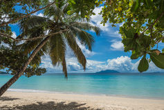 Playa tropical de Anse Beau Vallon, isla de Mahe, Seychelles foto de archivo libre de regalías
