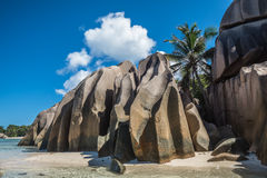 Playa tropical de la isla, fuente d'argent, La Digue, Seychelles Fotografía de archivo libre de regalías