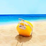 Playa tropical de la maleta amarilla accesoria del día de fiesta Imagen de archivo libre de regalías