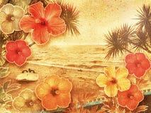 Playa tropical de la vendimia imagen de archivo