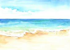 Playa tropical del verano con la arena y la onda de oro Ejemplo dibujado mano de la acuarela