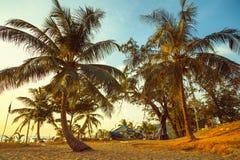 Playa tropical en la puesta del sol hermosa imagen de archivo