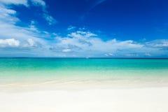 Playa tropical en Maldivas con pocas palmeras foto de archivo libre de regalías
