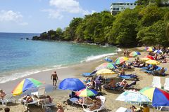 Playa tropical en St Vincent, granadinas, del Caribe Fotografía de archivo libre de regalías
