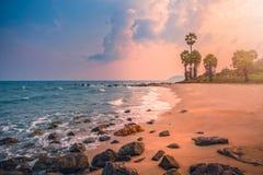 Playa tropical hermosa con la palmera del azúcar en la puesta del sol en Tailandia Tono del vintage foto de archivo
