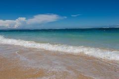 Playa tropical hermosa con la vegetación enorme Imágenes de archivo libres de regalías