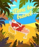 Playa tropical, sol, verano, Papá Noel, día de fiesta, hora de viajar Ilustración del vector Foto de archivo