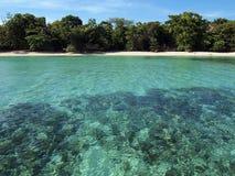 Playa Unspoiled con aguas de la turquesa imagen de archivo libre de regalías