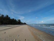 Playa vacía franjada por las palmas de coco imagen de archivo libre de regalías