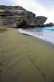 Playa verde de la arena Imágenes de archivo libres de regalías
