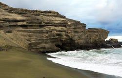 Playa verde Papakolea de la arena Imagenes de archivo