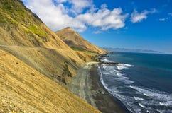 Playa volcánica en el verano, Islandia del sur de la arena negra pintoresca Foto de archivo