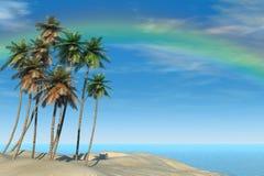 Playa y arco iris tropicales ilustración del vector