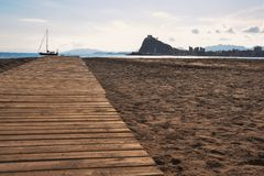Playa y barco Fotos de archivo