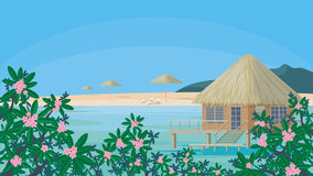 Playa y casa de planta baja tropicales Fotografía de archivo