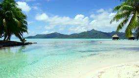 Playa y casas de planta baja tropicales en Polinesia francesa almacen de metraje de vídeo
