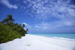 Playa y cielos azules Foto de archivo libre de regalías