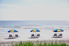 Playa y edificios de la Florida Foto de archivo