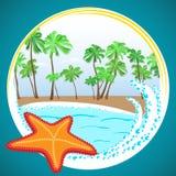 Playa y estrellas de mar hermosas del océano del vector Fotos de archivo