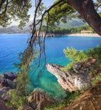 Playa y hotel Milocer montenegro Imagen de archivo
