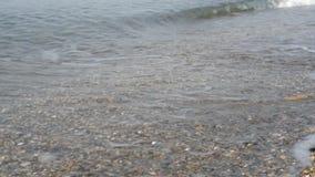 Playa y ondas con espuma almacen de metraje de vídeo