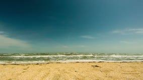 Playa y ondas en la costa almacen de metraje de vídeo