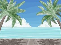 Playa y palmeras, bandera del paraíso del tiempo de verano libre illustration