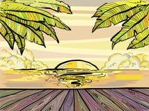 Playa y palmeras, bosquejo de Paradise de la puesta del sol del verano ilustración del vector