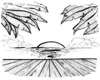 Playa y palmeras, bosquejo del paraíso del tiempo de verano stock de ilustración